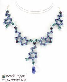 Serotonin and Dopamine Beaded Molecules Necklace - Cindy Holsclaw - Bead Origami
