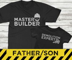 Father son matching shirts, Master Builder and Demolition Expert, construction shirts for boys, father son matching shirt sets These Father and Son coordinated shirts say it all. Daddy builds it son knocks it over! Perfect for the dad who loves to build and create! Available in Black or White. ORDER INFORMATION: ------------------------------- - Select the size and color for the adult shirt in the first drop down menu - Select the size for the baby/childs shirt in the second drop down...