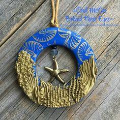 Gold, Cobalt Blue, Starfish, Seashell, Nautilus, Coral Reef, Summer, Beach, Ocean, Polymer Clay Pendant, Hand-Made, Unique Design