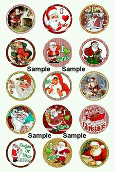 B Christmas Labels, Easy Christmas Crafts, Christmas Stickers, Christmas Clipart, Christmas Images, Vintage Christmas, Christmas Cookies, Bottle Cap Crafts, Bottle Caps
