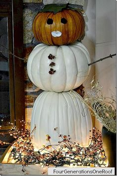 "How to make a ""fall"" snowman pumpkin - Four Generations One Roof"