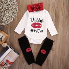 3 PC Newborn Infant Baby Boy Girl Daddy's Red Lips Dot Headband Romper Outfits (0-3 Months)