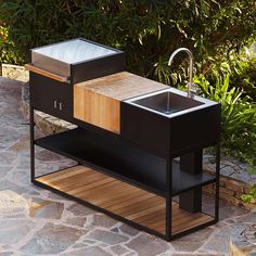 Vegetable Gardening For Beginners Open Kitchen Modern Outdoor Kitchen Roshults Stainless Steel Bbq S intended for ucwords] Backyard Patio Designs, Backyard Pavilion, Steel Furniture, Bar Furniture, Kitchen Modular, Open Kitchen, Modern Outdoor Kitchen, Bbq Table, Stainless Steel Bbq