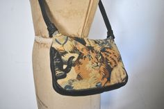 Cat Tapestry Leather Bag / Purse by badbabyvintage on Etsy