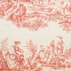 Warwick Villandry Fabric Valencay Toile Fabric - Rouge - VALENCAY_TOILE_ROUGE