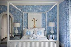 Wallpaper, bed, monogrammed bedding + art