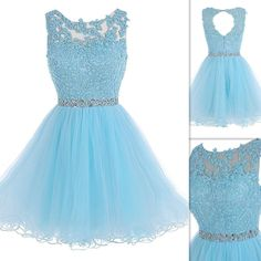 P105 light blue short prom dresses, lace appliques homecoming dresses, charming lady dresses, top selling tull prom gowns short