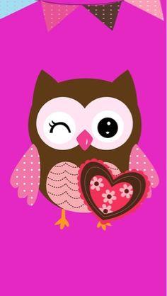 Wallpaper Cute Owls Wallpaper, Flowery Wallpaper, Cute Wallpapers, Wallpaper Backgrounds, Iphone Wallpaper, Owl Bird, Pet Birds, Owl Background, Owl Clip Art