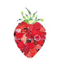 Button Art PRINT of orginial Button Artwork, diy, Swarovski, strawberry art… Button Art, Button Crafts, Strawberry Art, Strawberry Kitchen, Strawberry Fields, Kitchen Artwork, Fruit Picture, Diy Artwork, Chicken Art