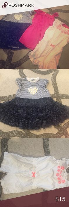 ️Bundle of baby girl dresses ️Bundle of size 24 months girls dresses and romper. The white romper and pink dress are from Carters and the blue dress with sun flowers is from Little Me. Carters Dresses Casual