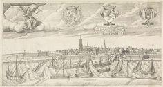 Nicolaes Weydtmans | Gezicht op de stad Gorinchem, Nicolaes Weydtmans, 1600 | Gezicht op de stad Gorinchem. Op de voorgrond de Merwede met verschillende schepen. Linksboven zit een engel op de wolken met een pijlenbundel en een oranjetak onder de arm en een vogel op de hand. Midden links het wapen van prins Maurits, midden rechts het wapen van Holland en rechts het stadswapen van Gorinchem. Onder het wapen van Holland hangt een banderol met het volgende tweeregelige opschrift: Salich is hij…