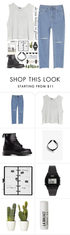 """""""Untitled #231"""" by my-black-wings ❤ liked on Polyvore featuring MINKPINK, Dr. Martens, Polaroid, Monki, Kikkerland, Casio, L:A Bruket and Maison Margiela"""