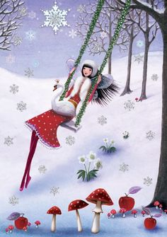 Winter illustration - by Mila Marquis Christmas Images, Christmas Art, Winter Christmas, Vintage Christmas, Illustration Noel, Winter Illustration, Christmas Illustration, Art Fantaisiste, Square Card