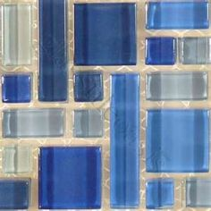 Someday I will have a beautiful blue tiled bathroom. Ah, to dream!  Blends, Unique Shapes, Navy Blue Blend, Glossy, Blue, Glass Tiles.