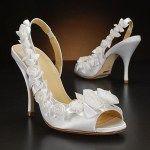 Pantofi mireasa albi cu model floral
