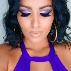 """#ShareIG #MOTD Purple Glam #AmrezyPalette """"Caramel"""" and """"LBD"""" on the crease @colourpopcosmetics """"Bubbly"""" and """"Dare"""" on the lid. Inglot gel liner #77 and NYC to darken. @houseoflashes """"Iconic"""". Mac """"Feline"""" on the waterline. Mac """"Stripdown"""" lip pencil and """"Myth"""" lipstick. Armani luminous silk foundation, Nars creamy concealer. Makeup Forever matte bronzer. Mac """"Dame"""" blush @doseofcolors """"Sunkissed"""" and """"Peach Glow"""" highlighter ?"""