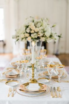 Glam gold accented tablescape: http://www.stylemepretty.com/north-carolina-weddings/southern-pines/2015/09/22/modern-elegance-wedding-inspiration-shoot/ | Photography: Caroline Lima - http://www.stylemepretty.com/north-carolina-weddings/southern-pines/2015/09/22/modern-elegance-wedding-inspiration-shoot/