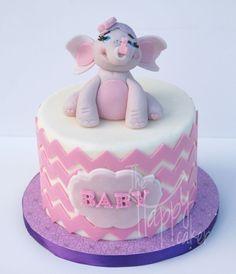 Baby elephant with chevron stripes Baby Shower Cake