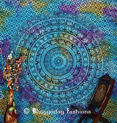 Indian Mandala Wall Hanging Tapestry, Tie Dye Tapestry, Indian Elephant Mandala Tapestry, Hippie Tapestries, Pyshedlic Tapestry, Bohemian Dorm Decor , Table Cloth, Picnic Beach Blanket, 86x94 Inch.