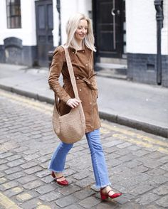 Suede jacket and red Mary Janes