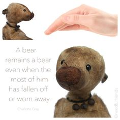 a #bear remains a bear even when the most of him has fallen off or worn away #quotes #aphorisms #artistbears #ooak #Needful #Friends #NeedfulFriends #vintagebear #vintage 12 inches