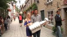 Patrice Bergeron and Stephanie Bertrand with the cup