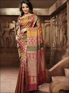 Pothys proudly presents the best destination for Silk Sarees online shopping. Buy Pure silk sarees, wedding silk sarees online and make your D - days festive. South Indian Sarees, Indian Silk Sarees, South Indian Bride, Indian Bridal Fashion, Indian Bridal Wear, Indian Wear, Indian Attire, Indian Outfits, Jute Silk Saree