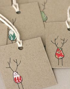 Beautiful Xmas Cards, Reinbirds by LilaRubyKingShop on Etsy
