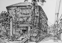 Artist - Itsuo Kiritani   Title - Hongokan Apartment, Hongo 6 Chome(本郷館、本郷6丁目) Dimensions - (23.6cm x 33.2cm)Year - 1992  Media - Pen and Ink on Paper   Exhibition - ANA InterContinental Tokyo  Nov. 9, 2015 - Feb. 9, 2016     Inquiry