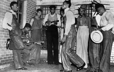 These are the scottsbro boys who were all accused of raping two girls. (They were innocent but still tried. These are all poorer boys so the suits are what the lower class in the 1930's could afford.