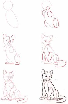 People Drawing Illustration Zeichentechniken How to Draw A Loch Ness Monster Cat Drawing Tutorial, Drawing Base, Drawing Drawing, Learn Drawing, Easy Cat Drawing, Kitten Drawing, Drawing Hands, Learn To Draw, Figure Drawing