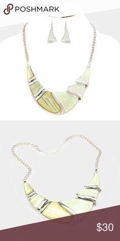 "Crescent Necklace Set • Necklace Size : 18"" + 3"" L • Decor Size : 1.5"" L • Earrings Size : 2"" L • Crystal detail epoxy crescent bar necklace Jewelry Necklaces"