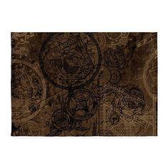 Clockwork Collage Brown 5x7'Area Rug on CafePress.com