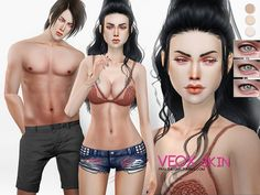 Skintone for male and female sims in 3 colors and 3 eyelid variations. Colors can be adapted by choosing different base skintones underneath. Found in TSR Category 'Sims 4 Skintones'