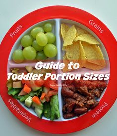 Guide to Toddler Portion Sizes. It's important to be aware of toddler portion sizes, too! Here's our comprehensive guide to toddler nutrition! http://www.superhealthykids.com/guide-to-toddler-portion-sizes/