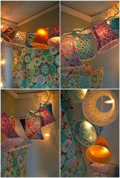 طريقة عمل زينة رمضان من الأكواب البلاستيك وأحبال الإنارة