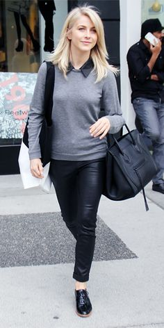 JULIANNE HOUGH For a day of shopping in Los Angeles, Hough layered a gray sweater over a black collared button-down with black J Brand leather pants. Sleek black patent brogues and a chic black Celine tote were the finishing touches.