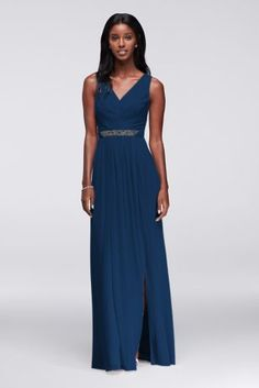 Long Mesh Dress with V-Neck and Beaded Waistband W11092
