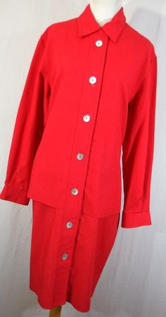 Vintage I Magnin shirt dress 12 red button down front collar l/s womens by AmazingTasteVintage on Etsy