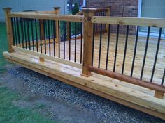 Go ahead and browse through our gallery, get inspired, pin and save the deck patio designs for small yards you like best! Our team has found some great examples of deck patio designs for small yards which we would like to share. Wood Porch Railings, Metal Deck Railing, Deck Balusters, Deck Railing Design, Deck Stairs, Stair Railing, Deck Railing Ideas Diy, Wood Stairs, Fence Ideas