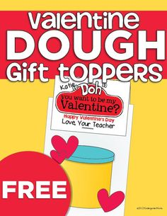 Since I'm such a fan, I like to give each student their own tub of playdough for Valentine's day and they enjoy playing with it once they've opened up all of their cards and we have a few minutes before lunch. Here are some free Valentine dough printables to make the toppers to your Valentine card/gift and the closure to any bag you can find from the dollar store.
