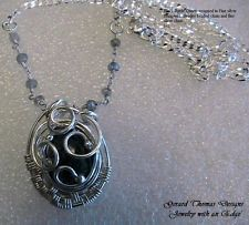 Artisan Handmade Black Rutile Quartz Silver Wire Wrapped Pendant Necklace by GTD