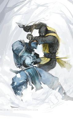 Scorpion vs Sub-Zero fight, Mortal Kombat Legacy artwork by Madi Blitz. Scorpion Mortal Kombat, Arte Kombat Mortal, Mortal Kombat Cosplay, Noob Saibot, Arte Ninja, Minions, Mileena, Video X, Fanart