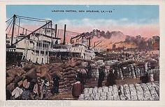 Old-Unused-Linen-Postcard-Loading-Cotton-Boats-Dock-Worker-NEW-ORLEANS-Louisiana