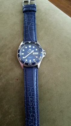 Orient blue ray ii on blue leather Orient Watch, Chronograph, Watches For Men, Leather, Blue, Men Accessories, Knights, Accessories, Men's Watches