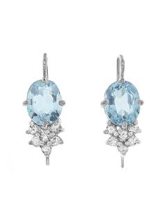 Oval Blue Topaz with Diamond Cluster Earrings - a