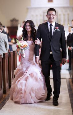 Beautiful blush pink bridal gown by Vera Wang. Knowing me, this might happen :) I'm obsessed with pink!