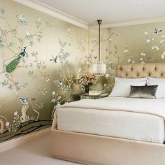Thank you @archdigest for featuring this lavish bedroom designed by @lichten_craig with our hand painted 'Badminton' wallpaper on…