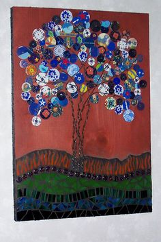Mixed Media Mosaic and Recycled Tin Tree/ by LowBridgeArtworks, $84.00