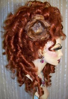 Drag Queen Wig Curly Side Up Do Auburn Red French Twist Long Curls in Clothes, Shoes & Accessories, Women's Accessories, Wigs, Extensions & Supplies | eBay